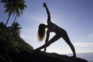 allyson anatra traveling yoga triangle pose philippines