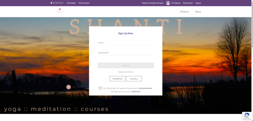 screen shot online yoga for shanti yoga online classes