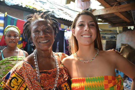 allyson anatra travel yoga teacher with local in Ghana West Africa