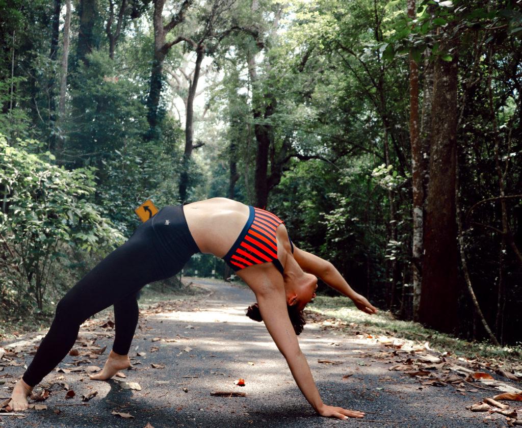 allyson anatra travel yoga teacher bridge pose thailand